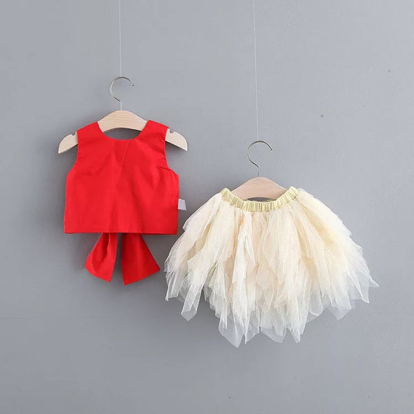 Big Bow Top And Tutu Skirt Set