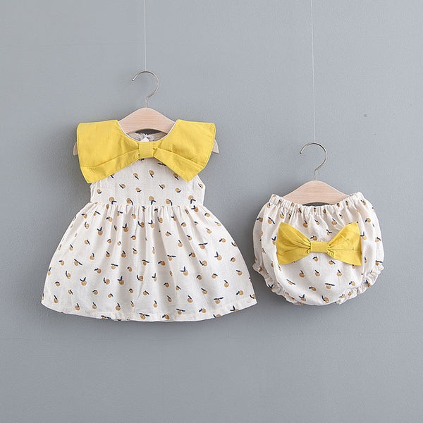 Apple Printed Bow Bloomer Set
