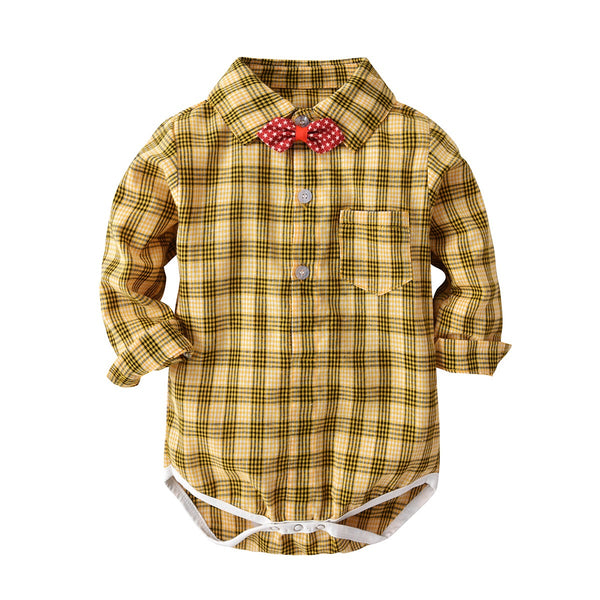 Yellow Checks Bow Romper With Suspender Pant