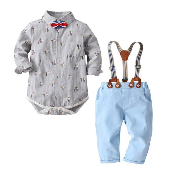 Grey Printed Bow Romper With Suspender Pant
