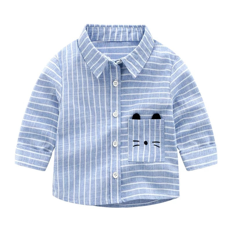 Cat Pocket Striped Shirt