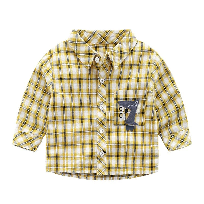 Dinosaur Pocket Plaided Shirt