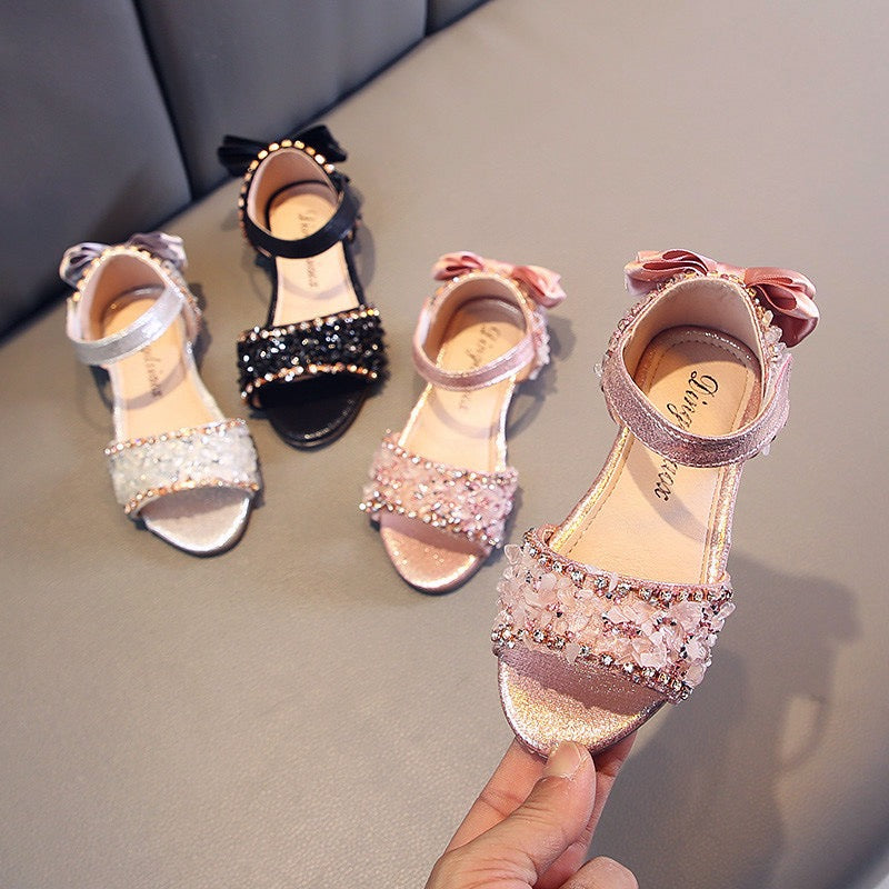 Crystal Studded Bow Sandals
