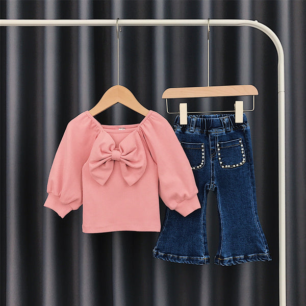 Bow made top and bell bottom denim set