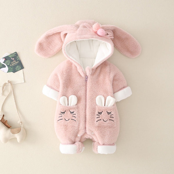 Double Pocket Rabbit Ear Winter Jumpsuits
