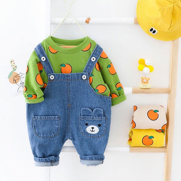 Peach Printed Sweatshirt And Dungaree Set