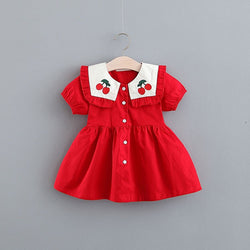 Cherry Collar Buttoned Dress