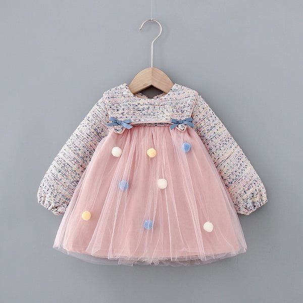 Pom Pom Full Sleeves Winter Dress