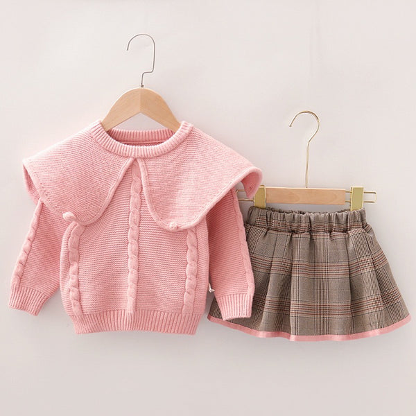 Checkered Skirt And Cape Sweater Set