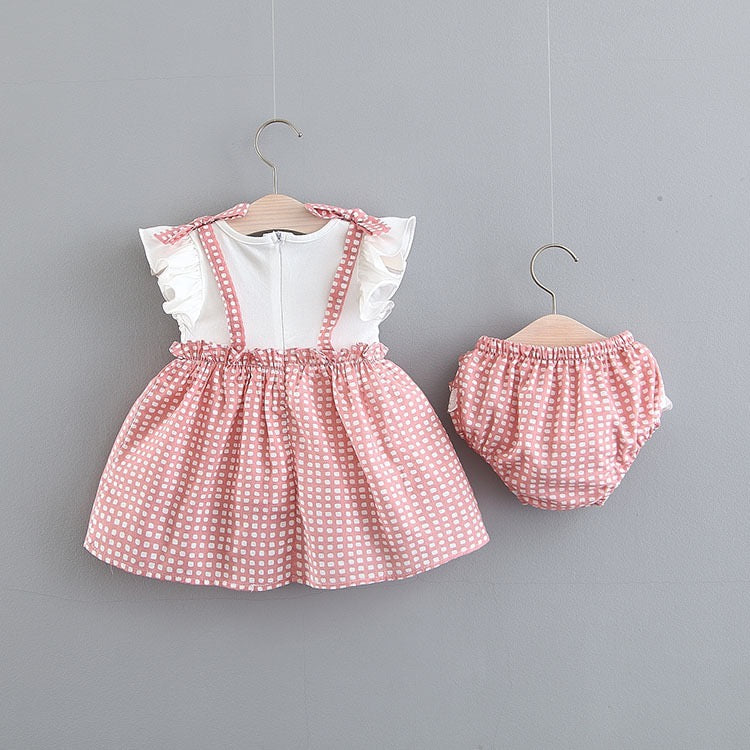 Bow Knot Pleated Bloomer Set