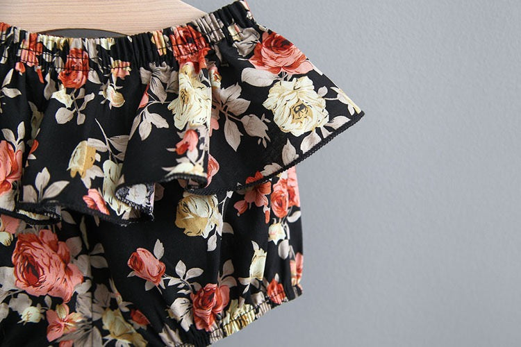 Pleated Flare Top And Floral Shorts Set