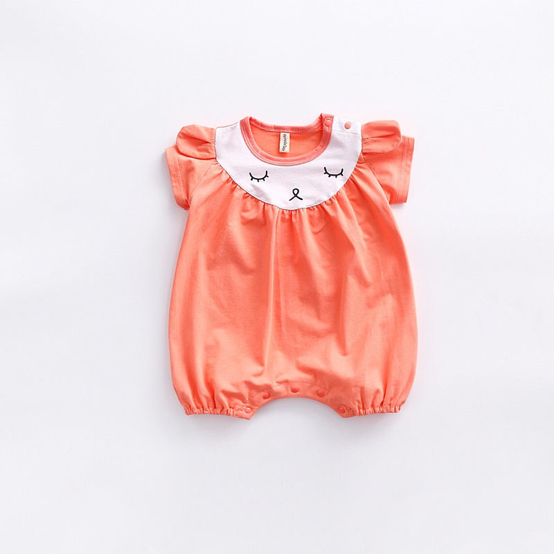 Animal Collar Baby Girls Romper