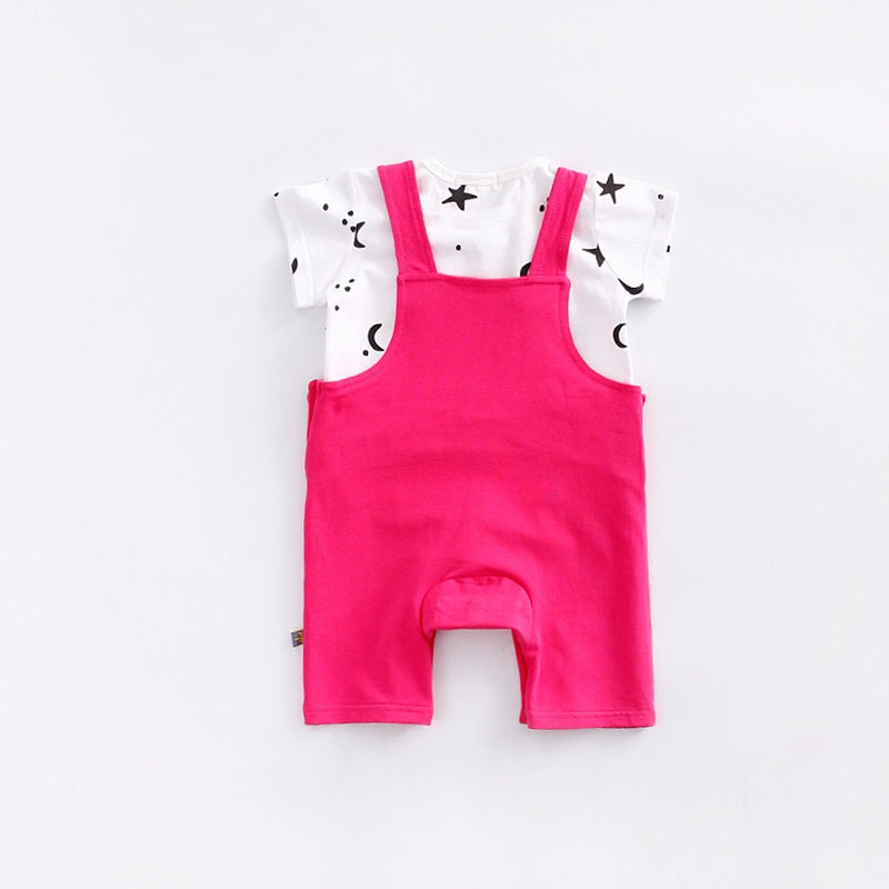 Rabbit Front Pocket Suspender Romper With Tshirt