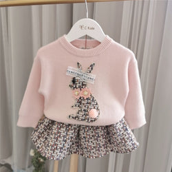 Cat Made Sweatshirt And Skirt Winter Set