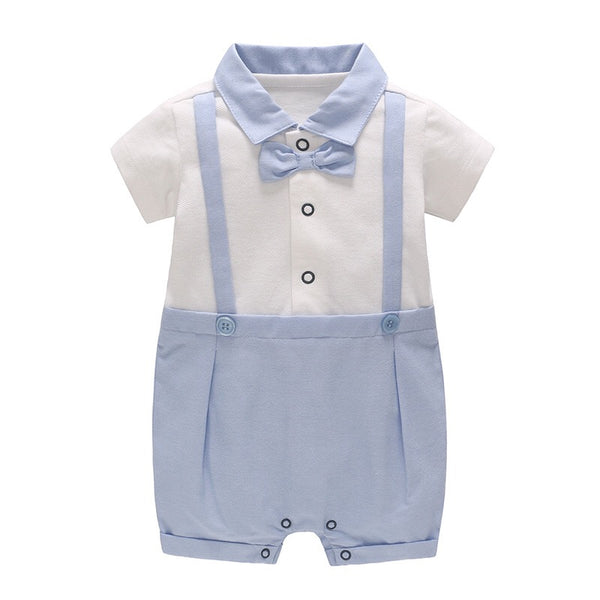 Blue Bow Gentleman Romper