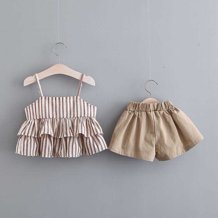 Flare Striped Top And Buttoned Shorts Set