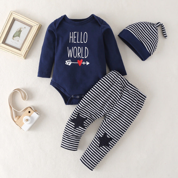 Hello World Onesie With Pant And Hat Set