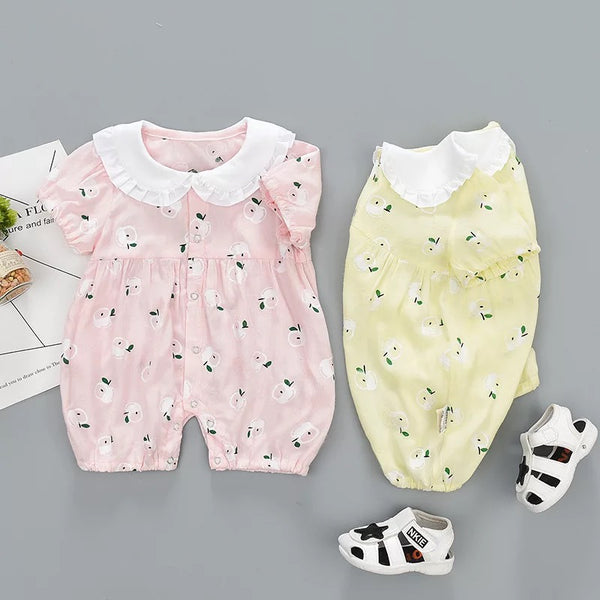 Printed Doll Collar Buttoned Romper