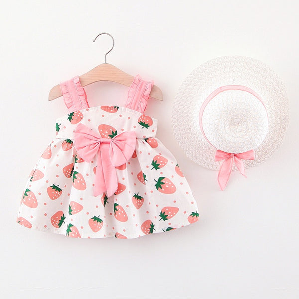 Strawberry Printed Dress with Hat