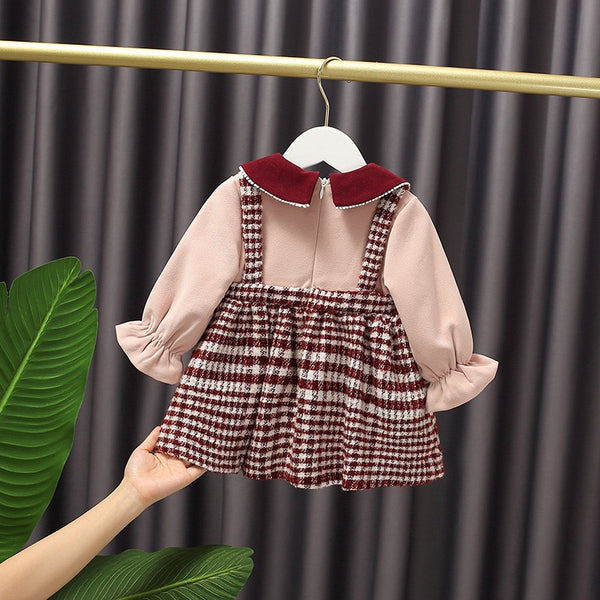 Doll Collar Dungaree Style Winter Dress