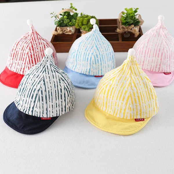 Striped Pompom Cap
