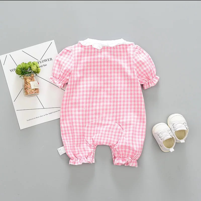 Doll Collar Plaided Bodysuit