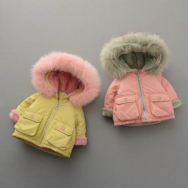 Fur Hooded Double Pocket Winter Jacket