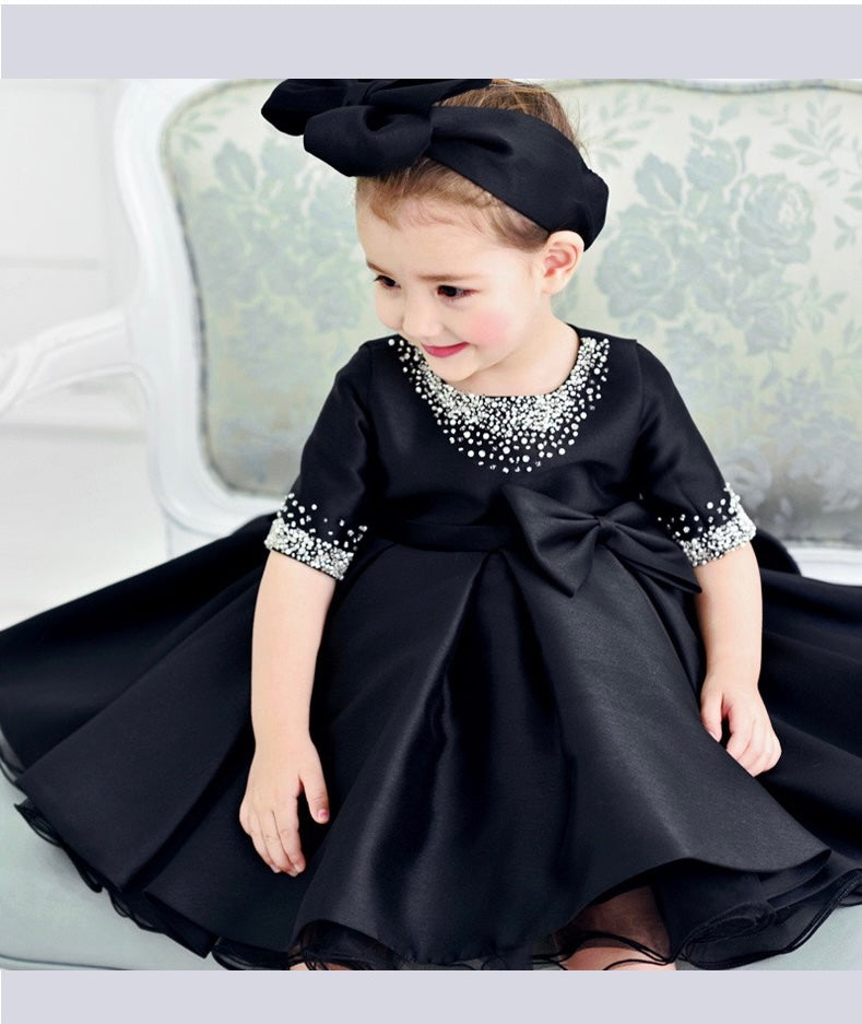 Bow Made Beaded Black Party Dress