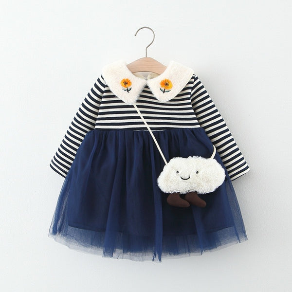 Flower Collar Striped Dress