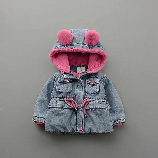 Rabbit Ear Hooded Denim Winter Jackets