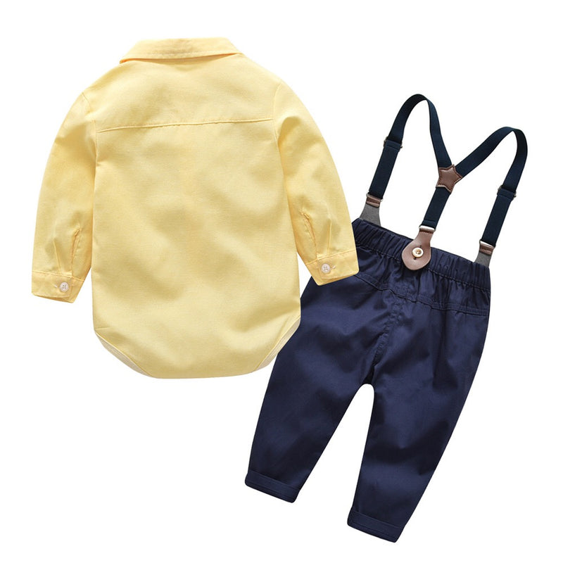 Yellow Bow Romper With Suspender Pants