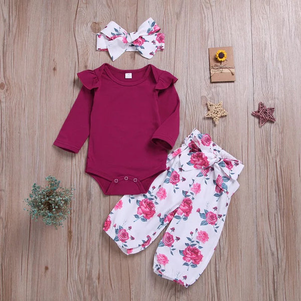 Cap Sleeves Romper And Floral Pant Set