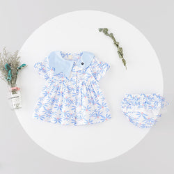 Swan Collar Buttoned Dress With Bloomers