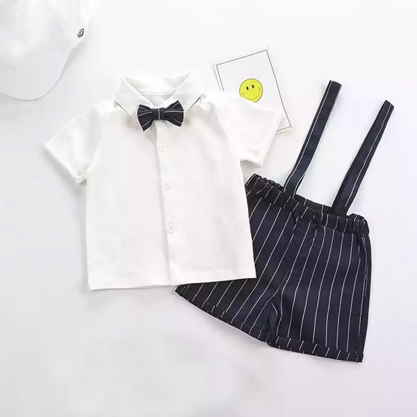 Bow Shirt And Striped Suspender Shorts Set