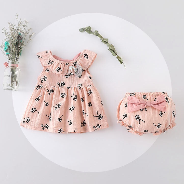 Flower Printed Bow Bloomer Set