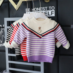 Striped Pearl Baby Sweater