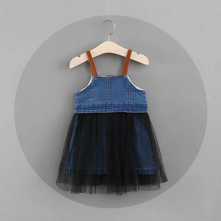 Denim Strap Tutu Dress For Baby Girls