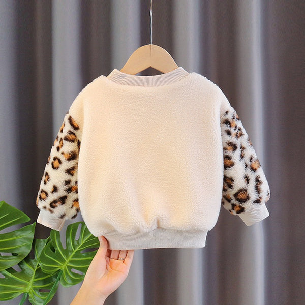 Leopard Sleeves Fleece Sweater