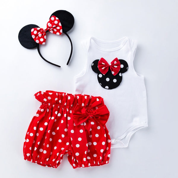 Minnie Romper And Polka Dotted Shorts Set With Headband