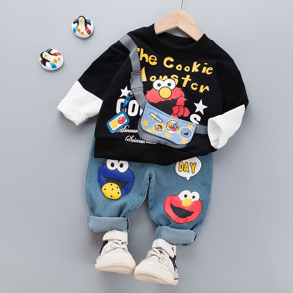 Cookie Monster Sweatshirt And Denim Set