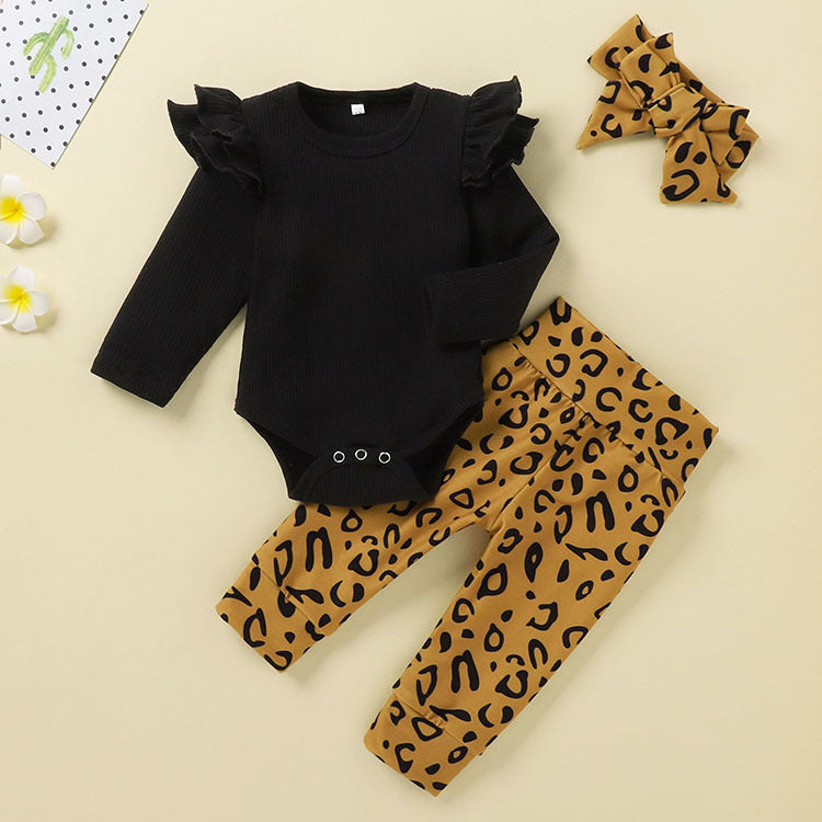 Cap Sleeves Romper And Leopard Pant Set