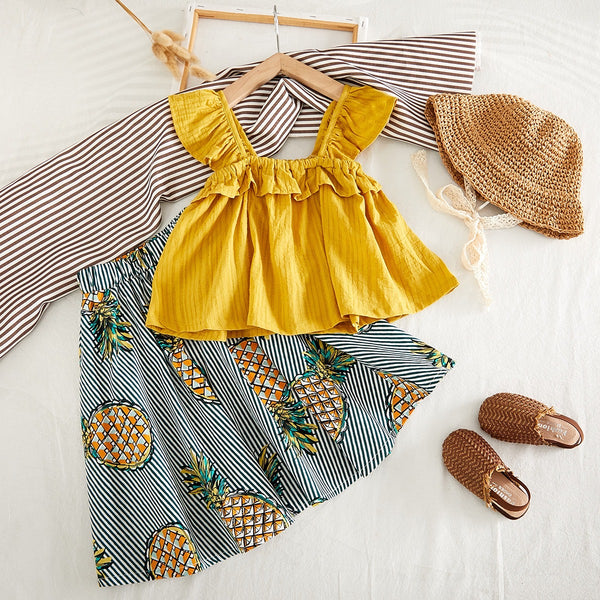 Frilled Top And Pineapple Skirt Set