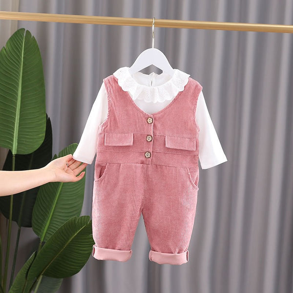 Lace Collar Tshirt And Corduroy Overall Set