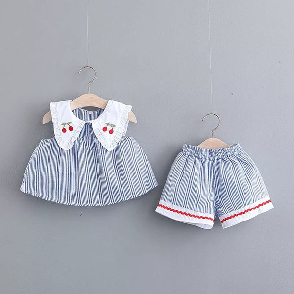 Cherry Printed Collar Striped Summer Set