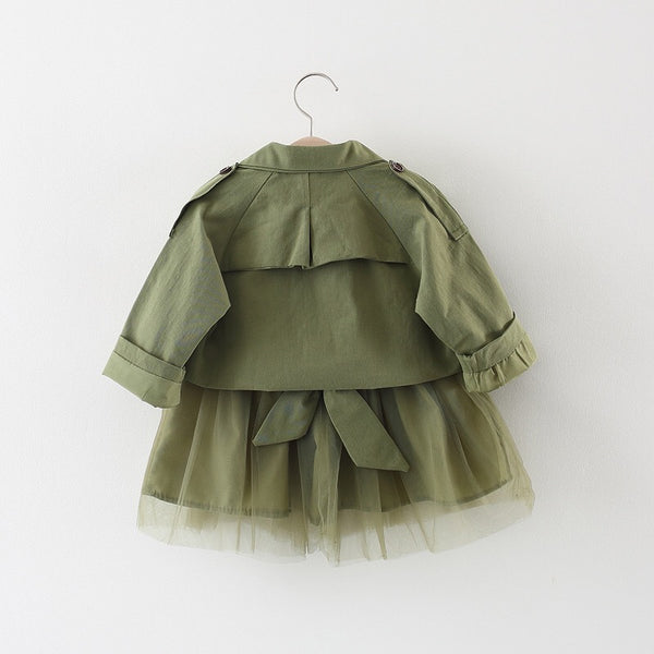 Army Green Sleeveless Dress With Jacket