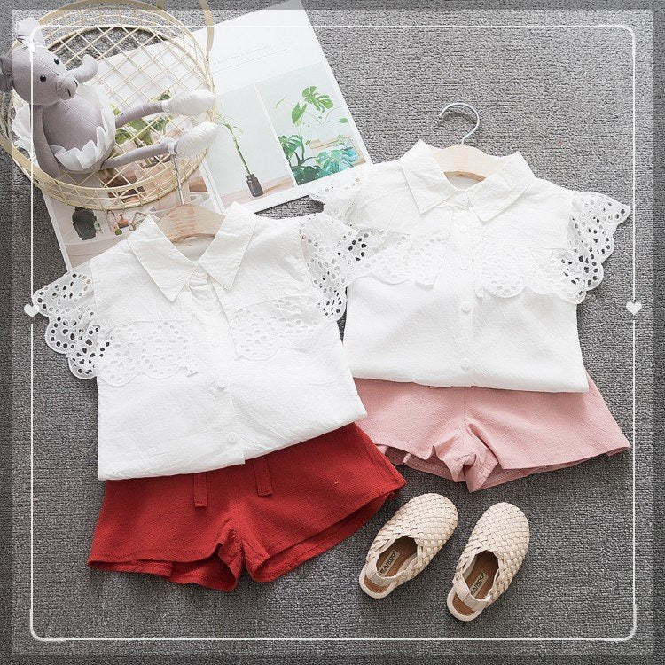 Eyelet Shoulder Shirt And Shorts Set