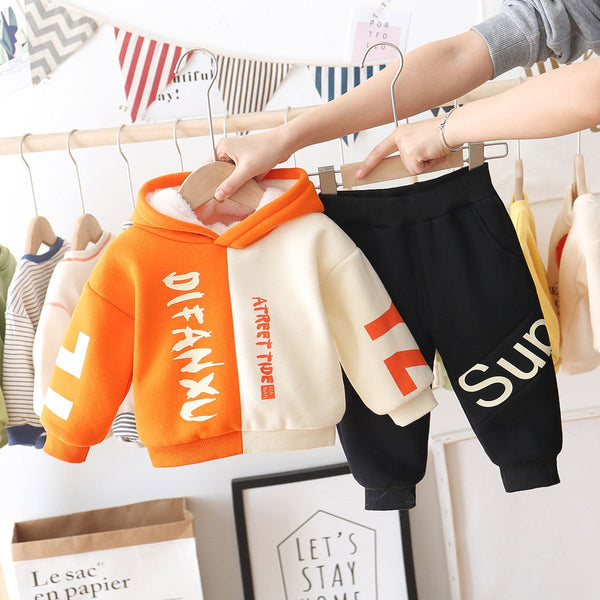 Double Color Hoodie and joggers winter set