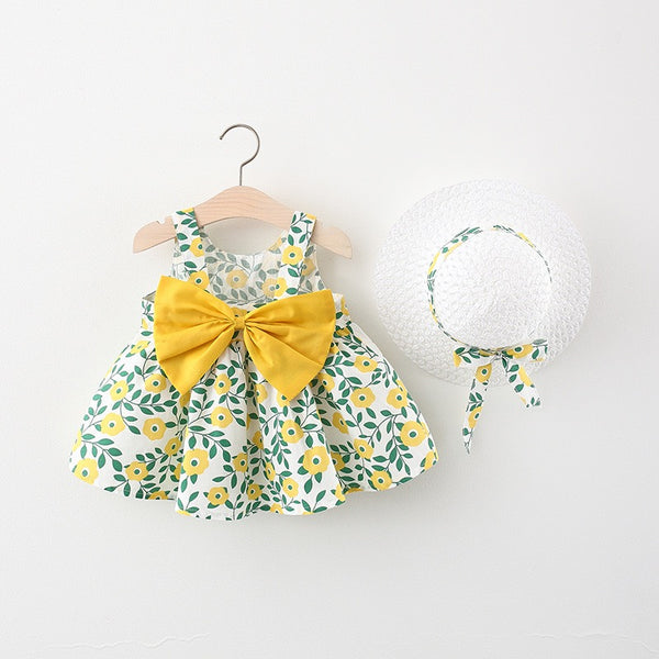Floral Print Bow Dress with Hat