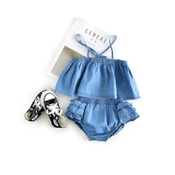 Denim Strap Top And Bloomer Set
