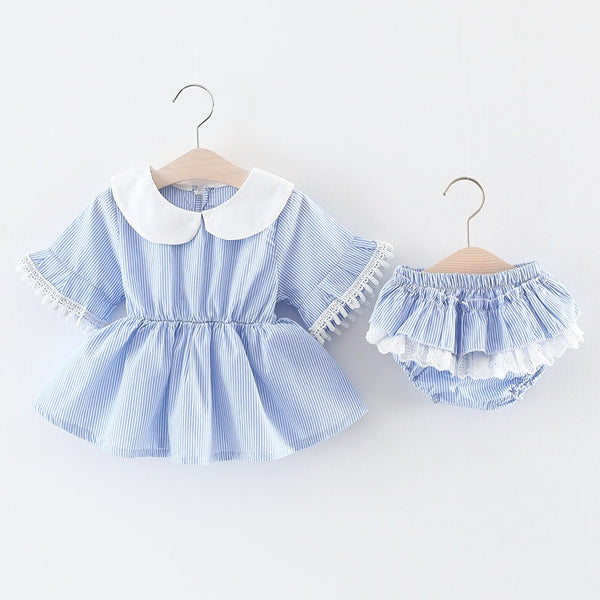 Flare Sleeves Dress And Bloomer Set